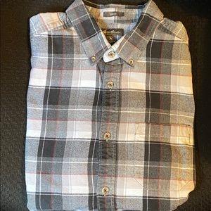 Eddie Bauer Gray/Red Men's Flannel Shirt Lg